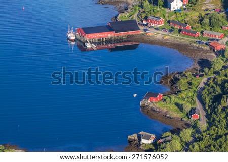 Tourist resort of Kalle on Lofoten islands in Norway - stock photo