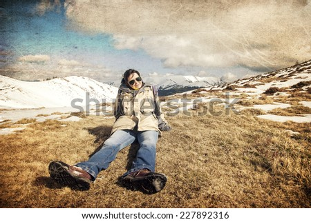 Tourist resting in the mountain