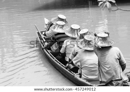 Tourist sightseeing attractions floating market - stock photo