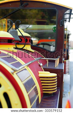 Tourist sightseeing train in the city.