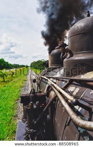 Tourist sugar train, Santa Clara, Cuba - stock photo