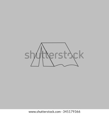 Tourist tent. Flat outline icon on grey background