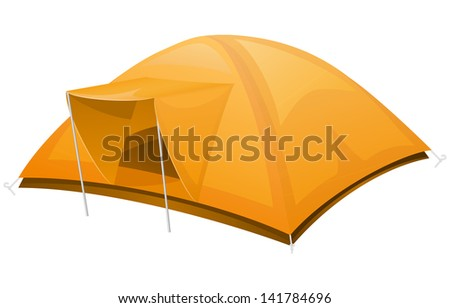 tourist tent illustration isolated on white background