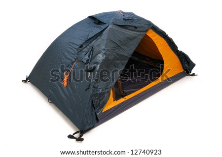 Tourist tent isolated on white background - stock photo