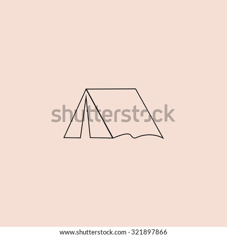 Tourist tent. Outline icon. Simple flat pictogram on pink background