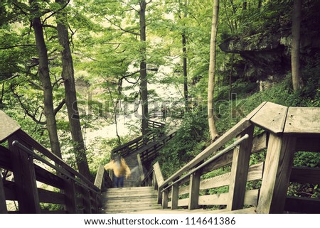 Tourist trail to Brandwine Falls in Cuyahoga Valley National Park - stock photo
