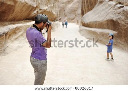 Tourist visitor photo - stock photo