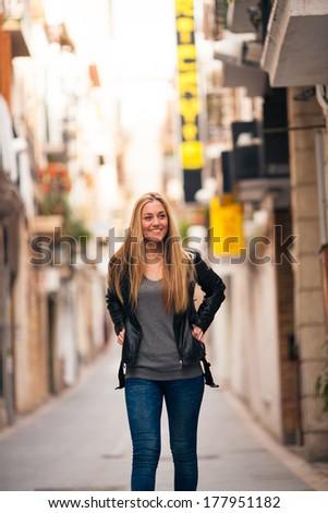 Tourist walking around the city - stock photo