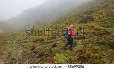Tourist walking in the Cayambe Coca National Park