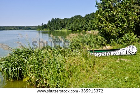 Tourist zebra canoe on summer sunny day - stock photo