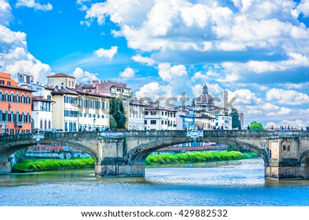 Touristic attraction and main city in Tuscany region, Florence Italy, spring time. / Cityscape Florence Italy. / Selective focus. - stock photo