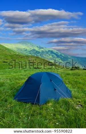 touristic camp - stock photo