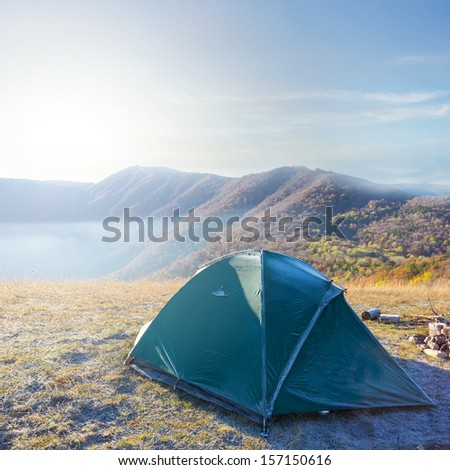 touristic camp at the early morning - stock photo
