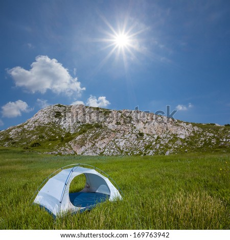 touristic camp in a green mountains - stock photo