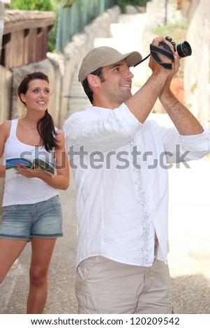 Touristic couple - stock photo