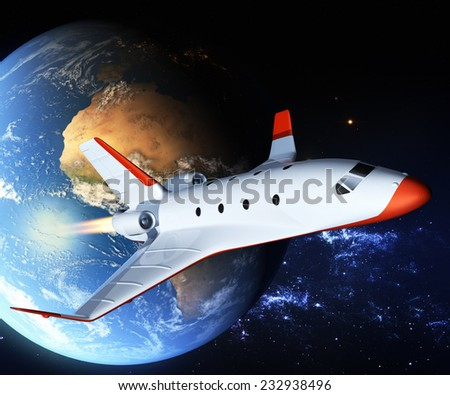 Touristic space shuttle. Elements of this image furnished by NASA.  - stock photo