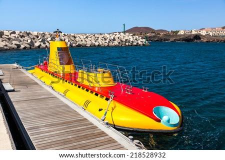 Touristic submarine at Tenerife island - Canary Spain - stock photo