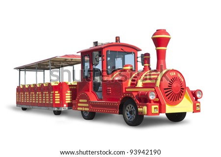 Touristic Train  fake old style locomotive - stock photo