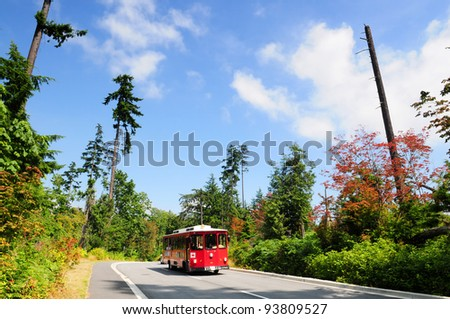 Touristic tram in Stanley park Vancouver, Canada - stock photo