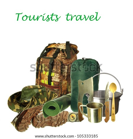 Tourists equipment. Backpacking bag, shoes, hat, pot, axe, compass, knife, spoon, mug, tent on white background. Your text. Necessary articles for tourism