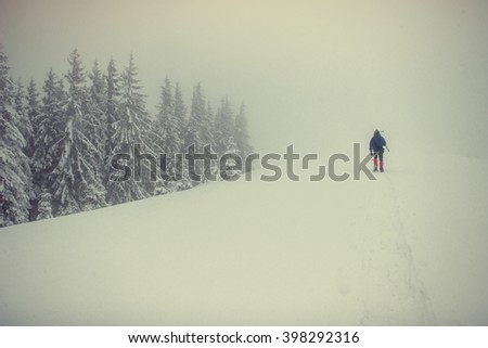 tourists in the snowy mountains. Carpathians. Ukraine, Europe