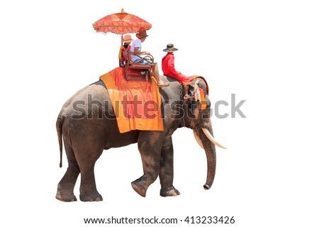 Tourists on an ride elephant tour of the ancient city isolated on white background with clipping path - stock photo