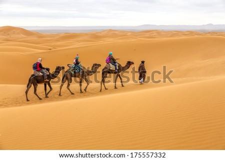 Tourists on safari, Morocco - stock photo
