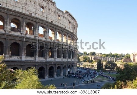 Tourists waiting outside the Coliseum in Rome to visit