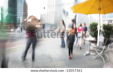 Tourists walking in berlin city. potsdamer platz - stock photo