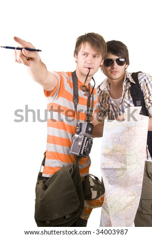 tourists with map - stock photo