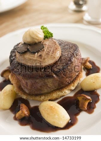 Tournedos Rossini with Cocotte Potatoes - stock photo