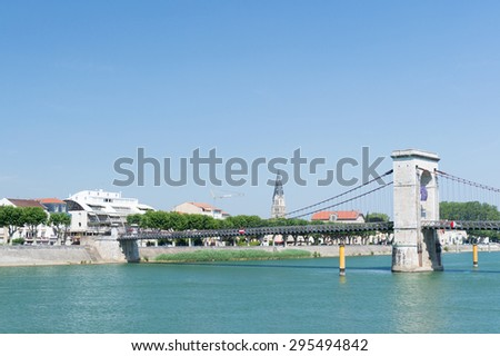 Tournon a riverside village sur Rhone in France - stock photo