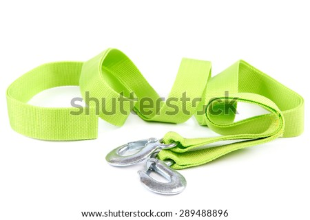 Tow rope with metal hooks isolated on a white background. - stock photo