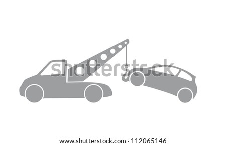tow truck with car, illustration - stock photo