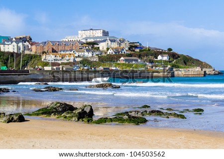 Towan Beach Newquay Cornwall England UK - stock photo