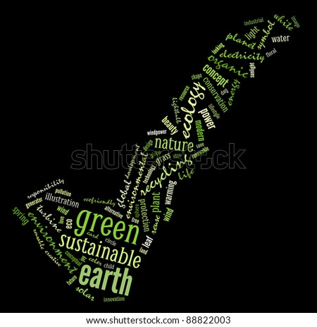Toward sustainable & green earth info-text graphics composed in tick  shape concept  on black background (word clouds)