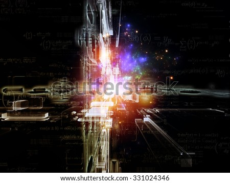 Toward Technology series. Composition of light trails and fractal structures on the subject of science, education and technology - stock photo