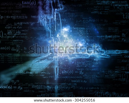 Toward Technology series. Design composed of light trails and fractal structures as a metaphor on the subject of science, education and technology - stock photo