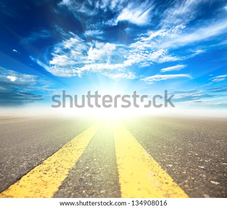 toward to the future on the road - stock photo