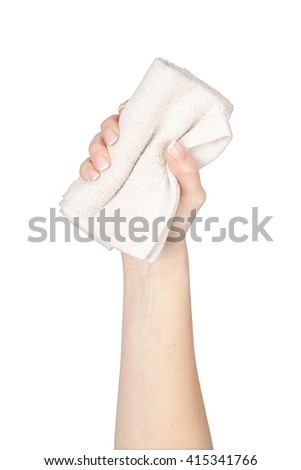 towel in a hand isolated on white background. spa and massage elements