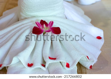 Towel in a hotel - stock photo