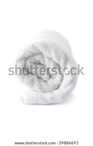Towel isolated on white - stock photo