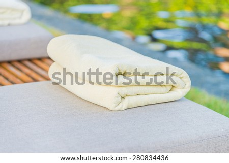 Towel pool in hotel resort