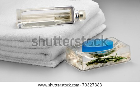 towel with soap - stock photo