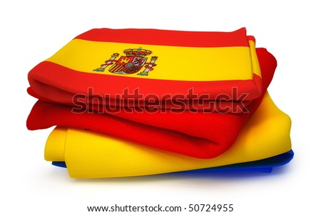 Towel with Spain flag - stock photo