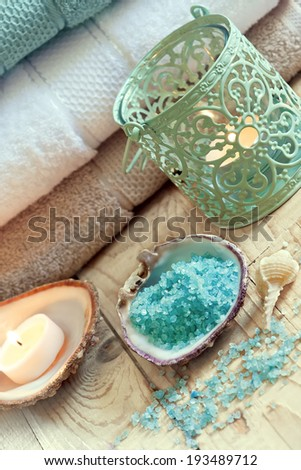 Towels, candles and bath salt. Spa conception. Selective focus. - stock photo