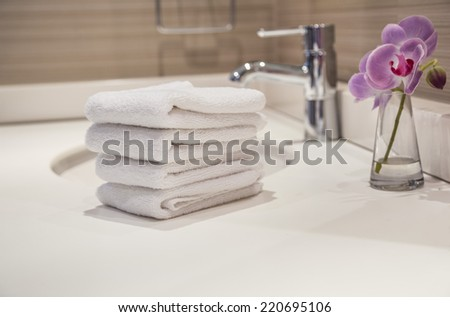 towels in bathroom - stock photo