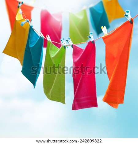 Towels on a rope. - stock photo