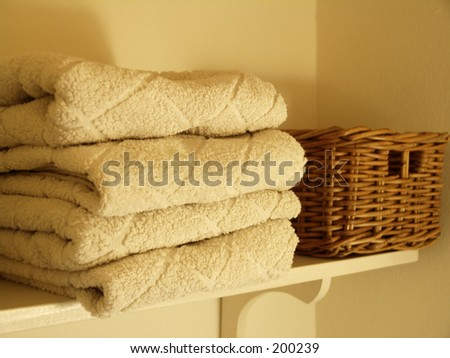 Towels on scelf - stock photo