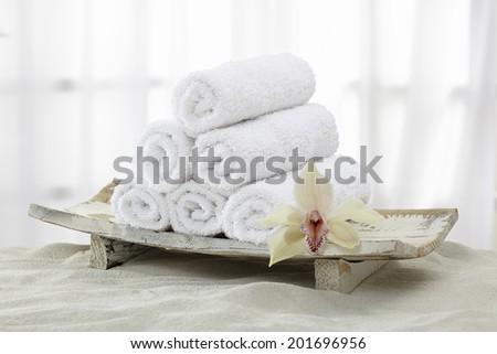 Towels, towel rolls - stock photo